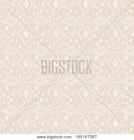 hand drawn geometric pattern, seamless pattern with white figures on beige background, white rhombus on beige background