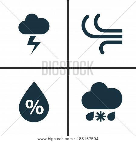 Climate Icons Set. Collection Of Breeze, Moisture, Wet And Other Elements. Also Includes Symbols Such As Wet, Moisture, Flash.