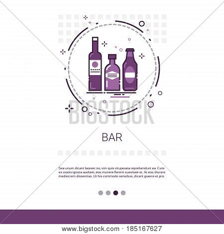 Restaurant Bar Alcohol Drink Service Banner With Copy Space Vector Illustration