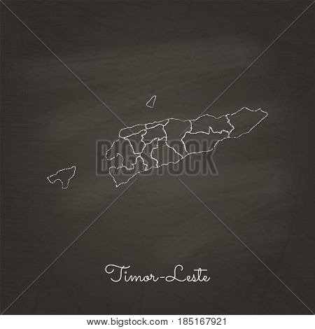 Timor-leste Region Map: Hand Drawn With White Chalk On School Blackboard Texture. Detailed Map Of Ti