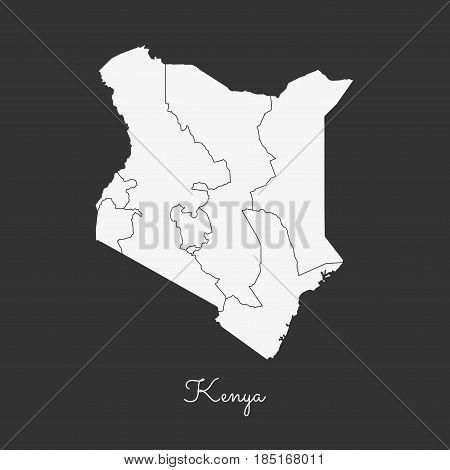 Kenya Region Map: White Outline On Grey Background. Detailed Map Of Kenya Regions. Vector Illustrati