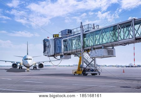 airplane on the airfield of an airport