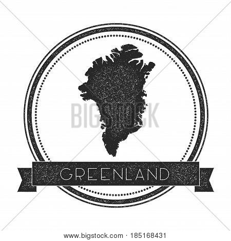 Retro Distressed Greenland Badge With Map. Hipster Round Rubber Stamp With Country Name Banner, Vect