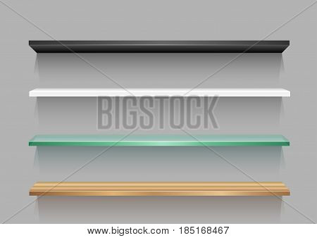 Different empty store shelf template with shadow for goods on gray background. Frame supermarket shop furniture design. Demonstration board