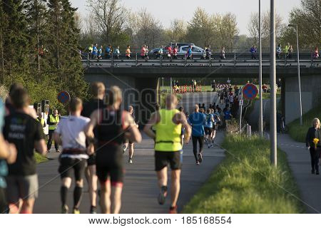 FREDERICIA DENMARK - MAY 6 2017: Little Belt Half Marathon Race between Middelfart and Fredericia over the New Little Belt Bridge in Denmark. May 6 2017.