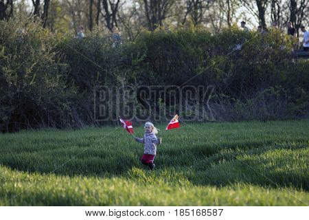 FREDERICIA DENMARK - MAY 6 2017:Spectator with Danish flag at Little Belt Half Marathon Race between Middelfart and Fredericia over the New Little Belt Bridge in Denmark. May 6 2017.