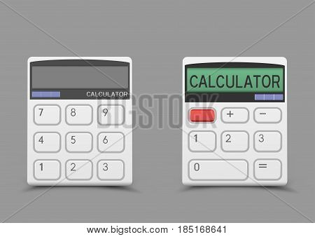 Turn on and off white calculator icon with shadow on gray background. Modern count tool