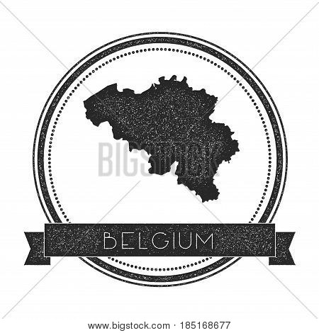 Retro Distressed Belgium Badge With Map. Hipster Round Rubber Stamp With Country Name Banner, Vector