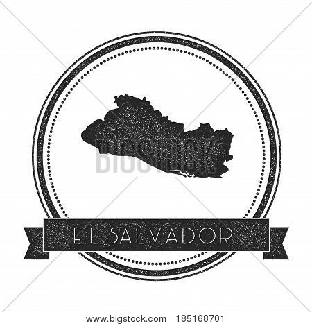 Retro Distressed El Salvador Badge With Map. Hipster Round Rubber Stamp With Country Name Banner, Ve