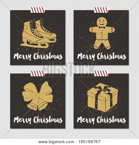 Hand drawn Christmas cards set with textured ice skates gingerbread man bells with ribbon and gift box vector illustrations.