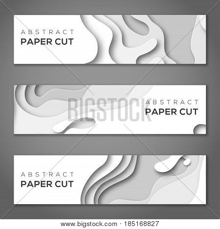 Horizontal banners with 3D abstract background, white paper cut shapes. Vector design layout for business presentations, flyers, posters and invitations. Carving art