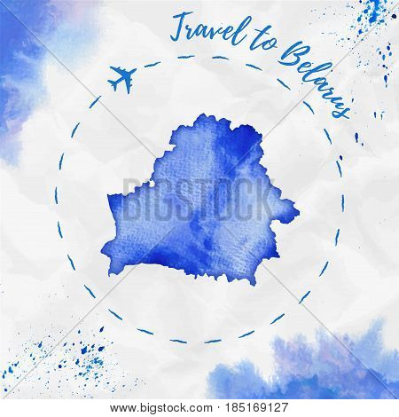Belarus Watercolor Map In Blue Colors. Travel To Belarus Poster With Airplane Trace And Handpainted