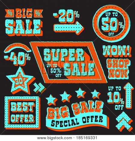 Set of super sale and discount tags, best offer and shop now promotion emblems, advertising and marketing poster, black background. Vector illustration