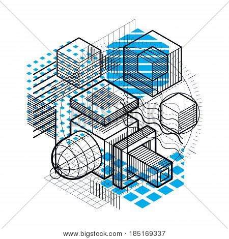 Abstract background with isometric lines vector illustration. Template made with cubes hexagons squares rectangles and different abstract elements.