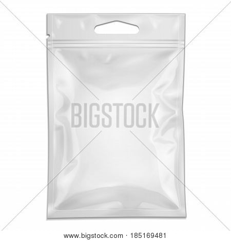 White Blank Filled Retort Foil Pouch Bag Packaging With Zipper, Hang Slot. Medicine Drugs Or Food Product. Illustration Isolated On White Background. Mock Up Template. Vector