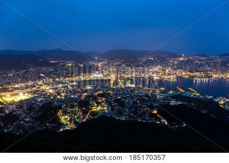 Japanese Nagasaki city at night