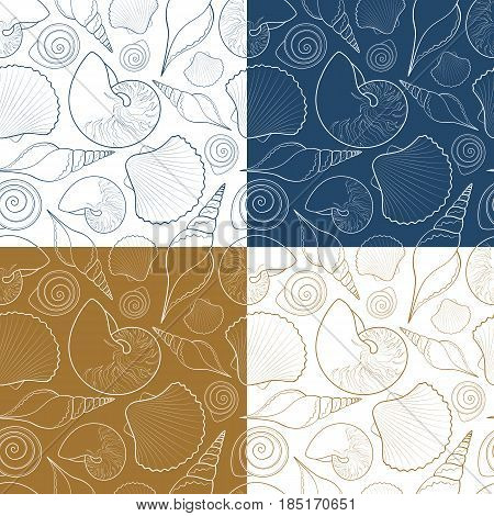 Set of vector summer seamless patterns with sea shells