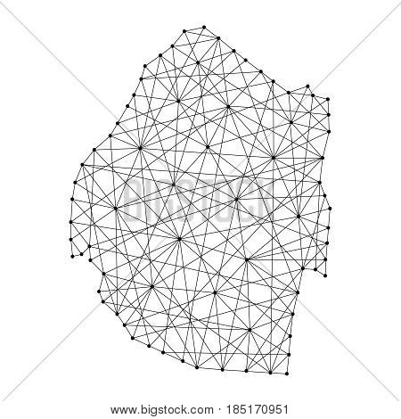 Map of Swaziland from polygonal black lines and dots of vector illustration