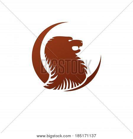 Brave Lion Ancient Emblem Animal Element. Heraldic Vector Design Element. Retro Style Label, Heraldr