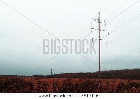 Industrial autumn foggy landscape - supports transmission line receding into the distance on the background of autumn foggy forest.