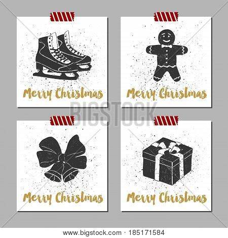 Hand drawn Christmas cards set with textured ice skates gingerbread man Christmas bells and gift box vector illustrations.