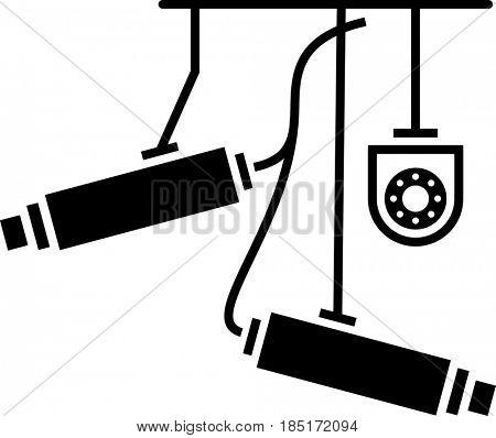 CCTV Security Camera Icon, Video Surveillance  Raster Illustration
