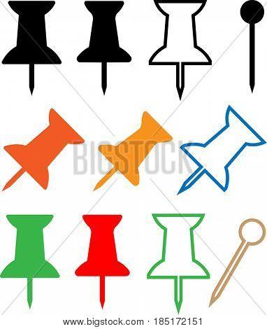 Push Pin Icon  Raster Illustration