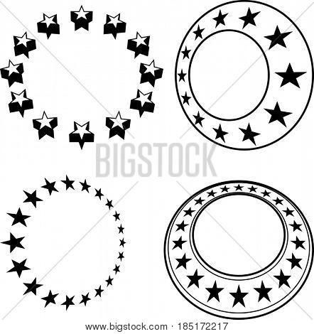 Stars In Circle  Raster Illustration