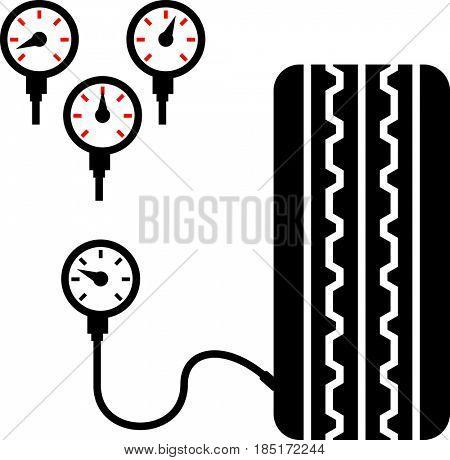 Tyre (Tire) Pressure Gauge Icon  Raster Illustration
