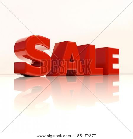 3d render: 3d Sale Word with Reflection