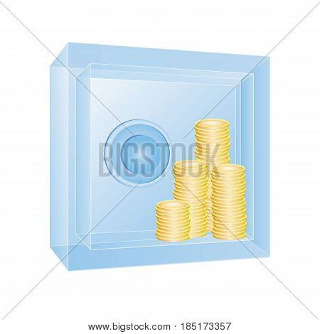 Transparent safe with gold coins in it. Ice or glass strongbox with visible content. Business concept - clear bank operations, obvious procedure. 3d vector illustration.
