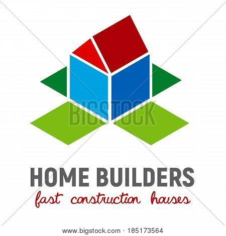 Isometric 3d house and the open box walls around. Vector template for builders, fast construction houses, real estate company. Simple building icon.