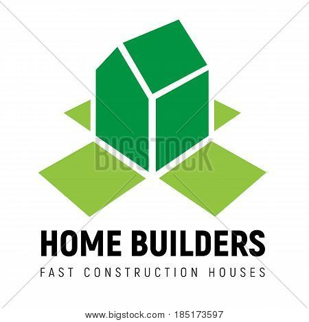 Isometric 3d house  with perspective. Open box walls around. Vector template for builders, fast construction houses, real estate company. Simple building icon.