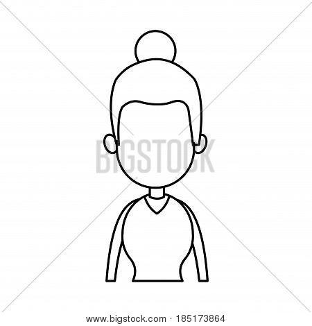 outline woman model bun hair image vector illustration