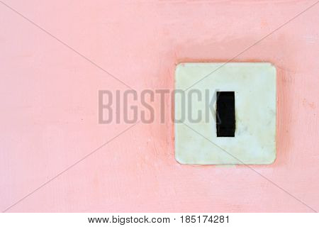 old, switch, pink, wall, background, space, vintage, black and white, electronic, retro, press, push, decor, frame, design, text, decoration, energy, home, on, button, power, control, save, plastic, technology, light, up, top, house