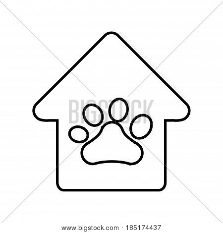 house with dog paw print icon over white background. vector illustration
