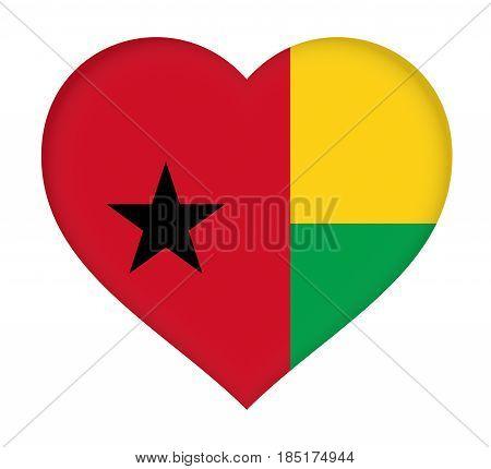 Flag Of  Guinea Bissau Heart
