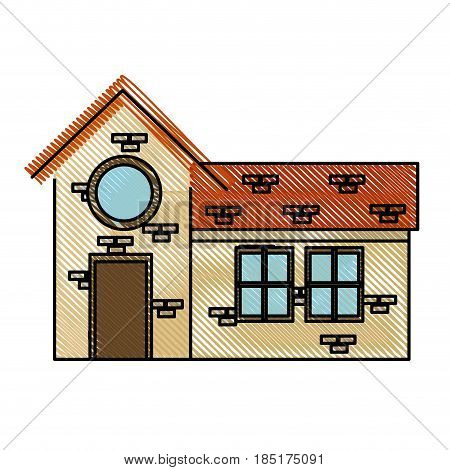 drawing house door round window brick residential vector illustration