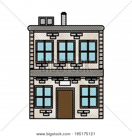 drawing house two sotry windows chimney image vector illustration