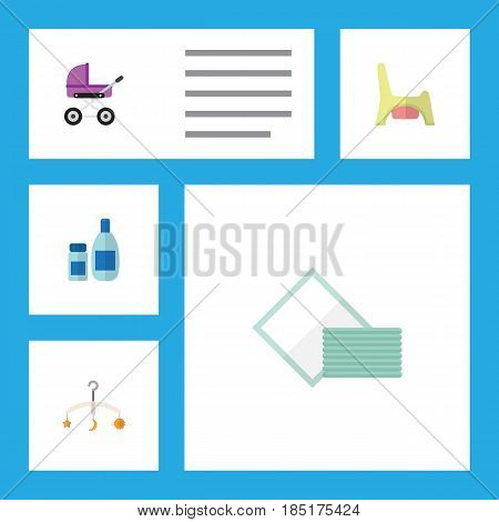 Flat Infant Set Of Stroller, Mobile, Napkin And Other Vector Objects. Also Includes Cream, Tissue, Toilet Elements.