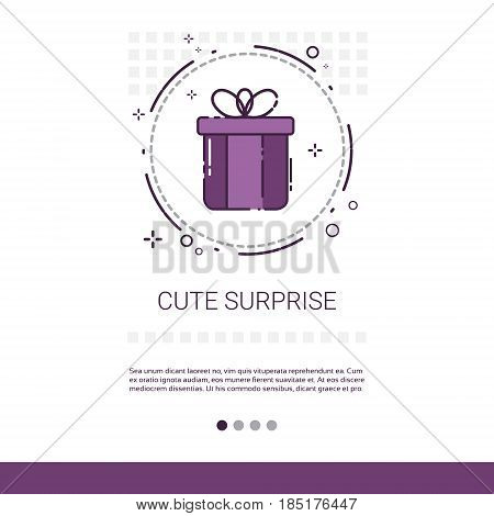 Cute Surprise Holiday Present Banner With Copy Space Thin Line Vector Illustration