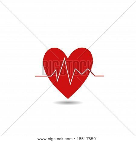 Heart Beat Line Icon. Health concept, red heart symbol