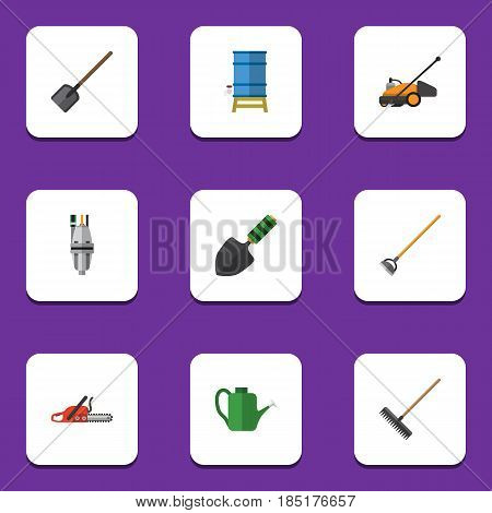Flat  Set Of Tool, Lawn Mower, Harrow And Other Vector Objects. Also Includes Shovel, Trowel, Can Bailer Elements.