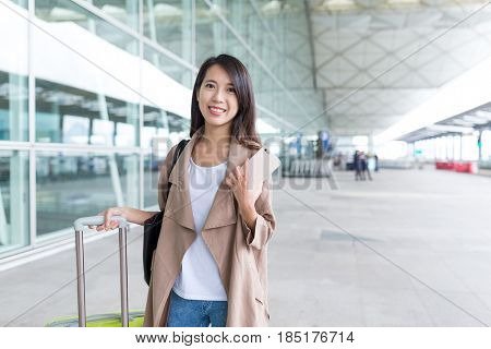Young woman go travel in airport