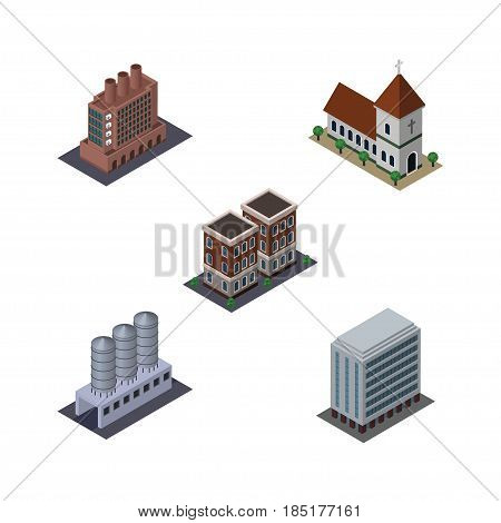 Isometric Construction Set Of Chapel, Office, Industry And Other Vector Objects. Also Includes Home, Chapel, Catholic Elements.