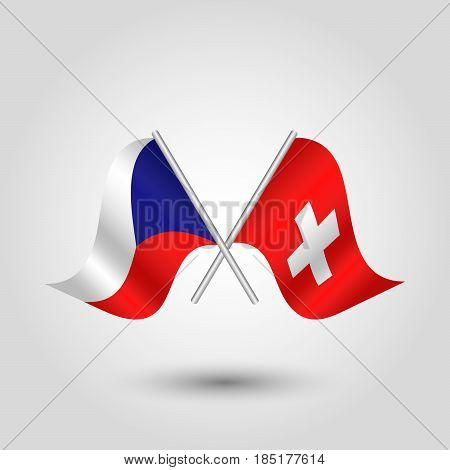 vector two crossed czech and swiss flags on silver sticks - symbol of czech republic and switzerland