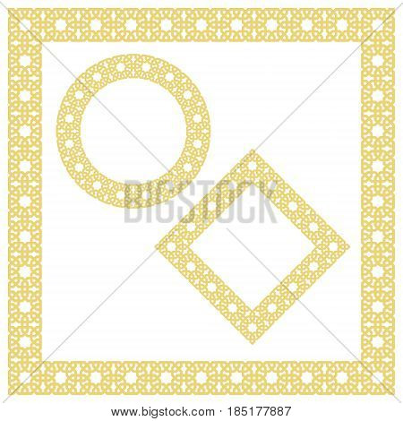 Islamic geometric borders, frames, vignettes. Vector muslim, persian motif. Elegant oriental ornament, traditional arabic art. Mosque decoration. Elements for greeting cards with empty space for text.