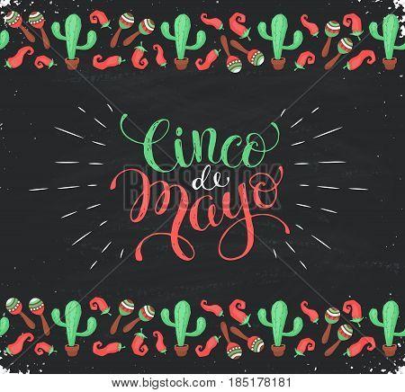 Cinco de Mayo banner in horizontal stripe composition. Mexican culture symbols collection. Sombrero, maracas, cactus and jalapeno on blackboard.