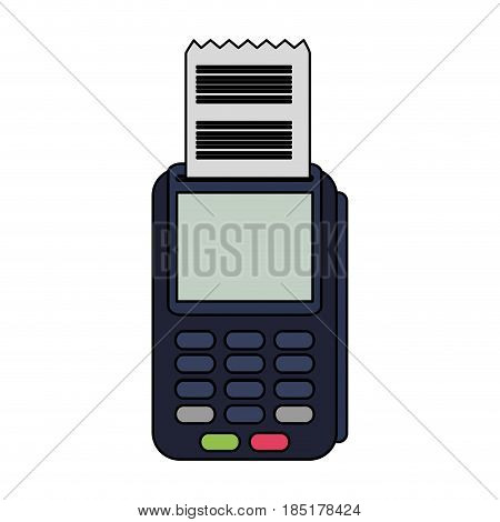 color image cartoon dataphone with receipter paper vector illustration