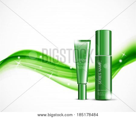 Light cosmetic ads design template with body cream and skin moisturizer green realistic bottles on wavy soft dynamic starry lines background. Vector illustration
